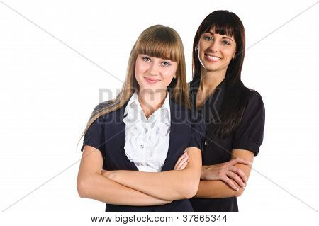 Mother And Daughter Wearing Formal Dress Isolated On White Background