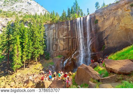 Yosemite, California, United States - July 24, 2019: Hiking People In Yosemite National Park At Vern