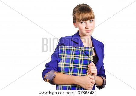 Teen Student Wearing Blue Jacket Girl With  Folder Isoalated On White