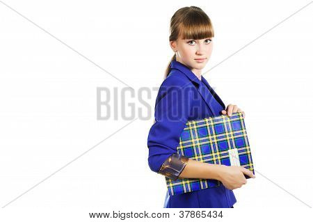 Teen Student Wearing Blue Jacket Girl With  Folder Isoalated On White Background