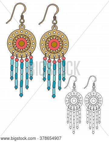 Round Boho-style Earrings With Beaded Pendants. Isolated Vector Illustrations.