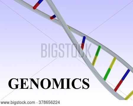 3d Illustration Of Genomics Script With Dna Double Helix , Isolated Over Blue Gradient.
