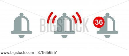 Notification Bell In Three Variations - Standard, With Sound Wave And Unread Messages Number - Vecto