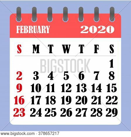 Letter Calendar For February 2020. The Week Begins On Sunday. Time, Planning And Schedule Concept. F