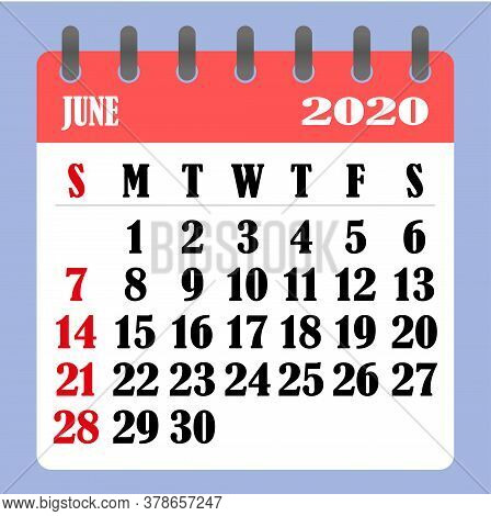 Letter Calendar For June 2020. The Week Begins On Sunday. Time, Planning And Schedule Concept. Flat