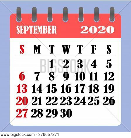 Letter Calendar For September 2020. The Week Begins On Sunday. Time, Planning And Schedule Concept.