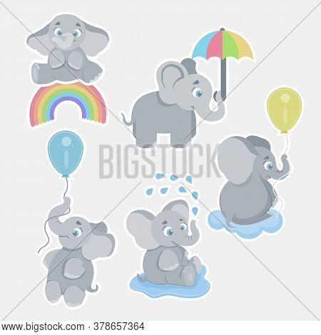 Cute Cartoon Baby Elephants. Animals African Safari Animals Vector Set. Elephant African Cartoon, Ha
