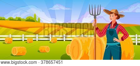 Woman Farmer With Pitchfork Near Haystack. Agriculture Farming Landscape With Young Woman In Hat, Gr