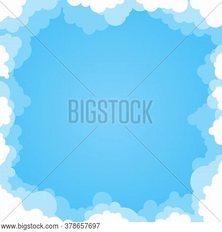 Abstract Cartoon Cloud Background Frame With Blue Gradient Sky In Flat Style. Fluffy Heaven Cloudy B