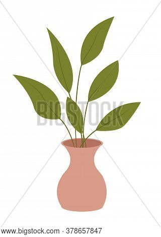 Pot With Houseplant Isolated At White Background. Vector Flowerpot Of Decorative Green Plant With Lo