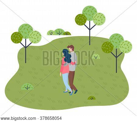 Happy In Love Couple Walking In Park. People Walking At Nature Hugging Each Other. Young Girl And Gu