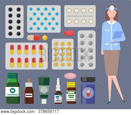 Medical Staff, Otolaryngologist. Medical Or Healthcare Web Icons Colorful Containers, Jars, Plates O