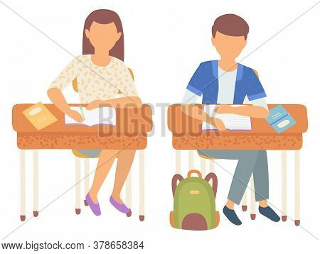 Classmates Boy And Girl Vector, Isolated Schoolboy And Schoolgirl Writing In Notebooks. Wooden Desks