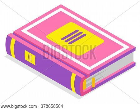 Book With Purple Hardcover And Bookmark, School Supplies. Library Element, Literature Or Notebook, R