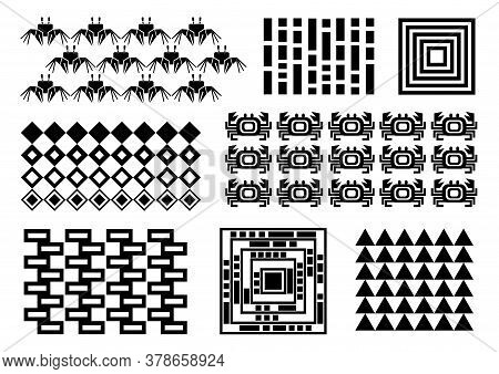 Memphis Set, Crabs, Rectangles, Triangles, Crab Pattern, Repeating, Cover Design, Black Simple Patte