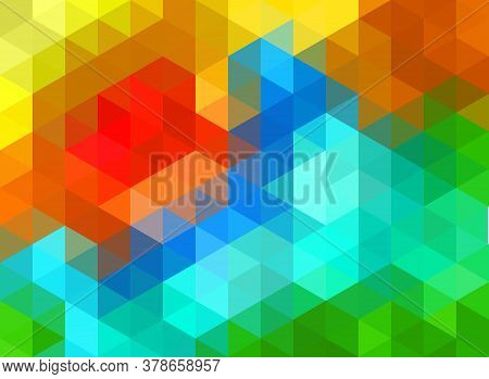 Vector Polygonal Pattern, Colorful Gradient Polygonal Gradient, Sticking Colorful Triangle And Hexag