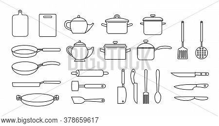 Kitchen Utensils, Vector Black Outline Set, Collection Of Kitchen Utensils, Knifes, Teapots, Cutting