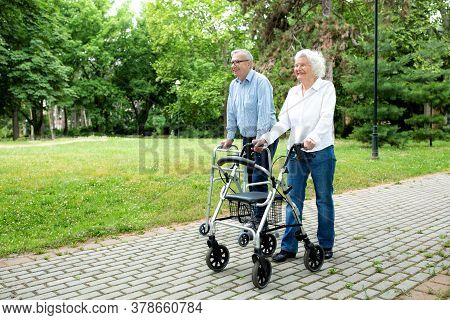 Senior People Walking And Enjoying A Beautiful Day In The Park