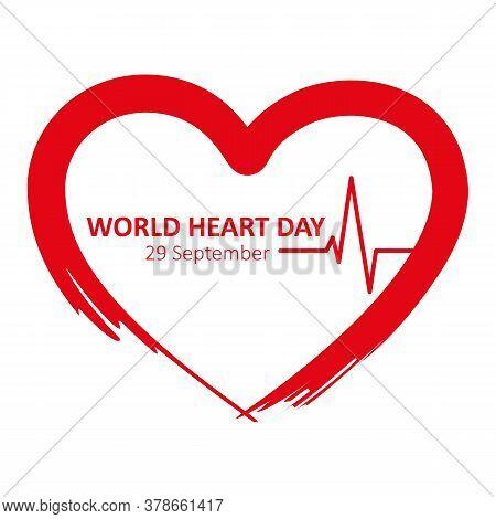 World Heart Day 29 September Red Heart Beat Vector Illustration Eps10