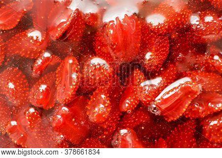 Natural Texture Of Strawberry Jam. Homemade Preparations, Winter Jam. Close-up. Selective Focus.