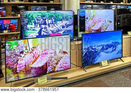 Televisions Of Different Brands In The Electronics Store. Minsk, Belarus - June 29, 2020