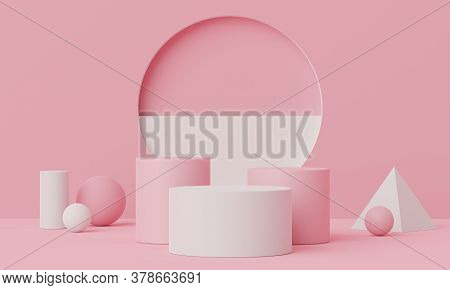 3d Geometric Forms. Blank Podium In Coral Pink Color. Fashion Show Stage,pedestal, Shopfront With Co