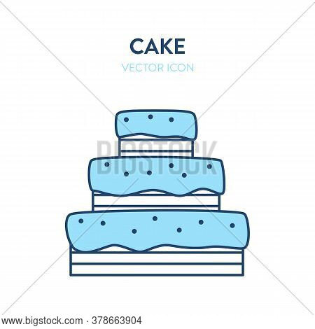 Cake Vector Icon. Vector Illustration Of A Big Party Cake Big Layered Birthday Cake. Big Icing Cake