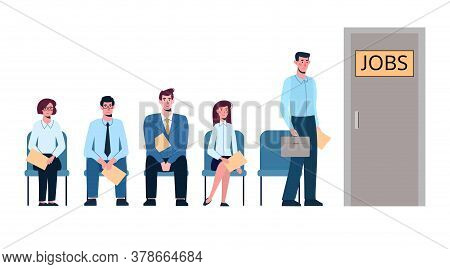 Competition Of People For Jobs, Queue For An Interview. Unemployment, Crisis, .job Search. Vector Il