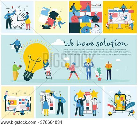 We Have Solution. Vector Concept Illustration Background Of Start Up And Finding Solution In Flat St