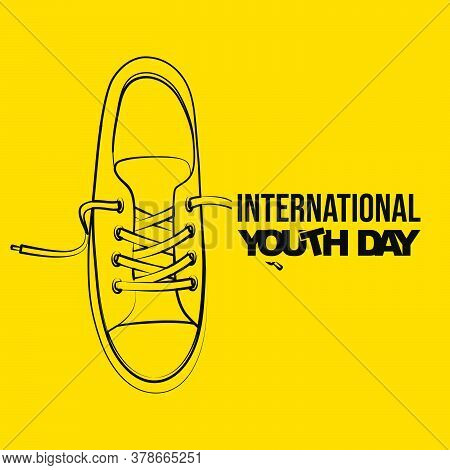 Line Art Of Sneaker Shoes Vector Illustration. Perfect Template For International Youth Day Design.
