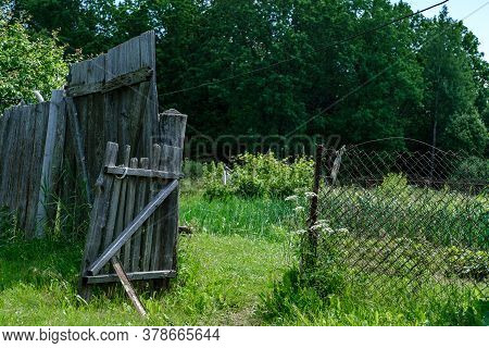 Old And Darkened Wicket And Fence In The Village For A Passage To The Garden On A Background Of Tall