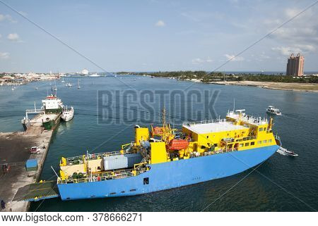 The Morning View Of A Cargo Ship Moored In Potters Cay Between New Providence And Paradise Islands (