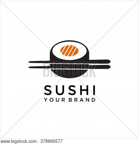 Vector Logo Design Element. Sushi, Restaurant, Japanese, Vector Icon Style Illustration Logo Of Asia