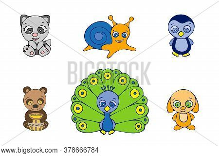 Colored Snail, Dog, Peacock, Penguin, Cat And Bear Doodle Sketch. Hand-drawn Isolated Illustration O