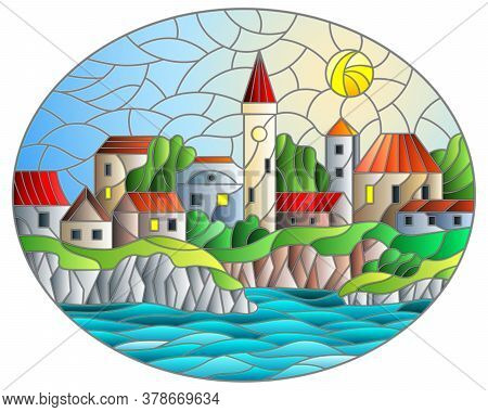 Illustration In Stained Glass Style With River And City On The Background Of The Daytime Sky And The