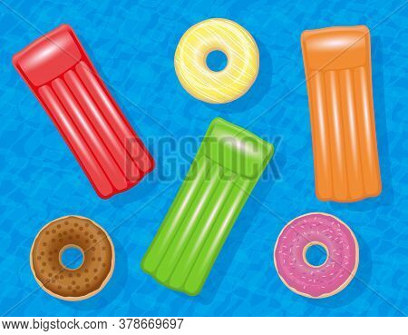 Inflatable Air Mattresses And Donut Swim Rings In A Pool. Colorful Set Floating On Blue Water, Symbo