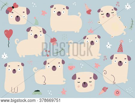 Drawn By Hand Vector Set Of Cartoon Pugs On Grey Background. Vector Illustration Of Different Doodle