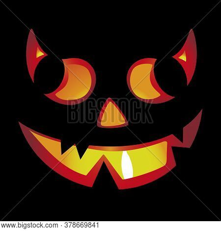 Pumpkin Halloween Devil Character Isolated On Black.