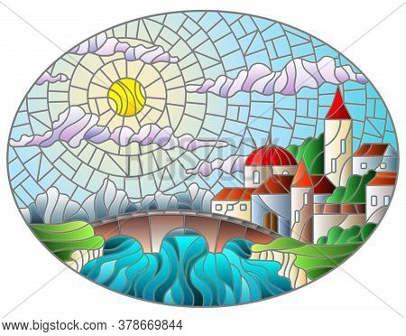Illustration In Stained Glass Style With The Old Town And Bridge Over A River With Mountains In The
