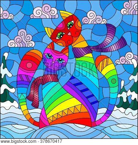 An Illustration In A Stained Glass Style With A Pair Of Funny Cartoon Rainbow Cats Against A Winter