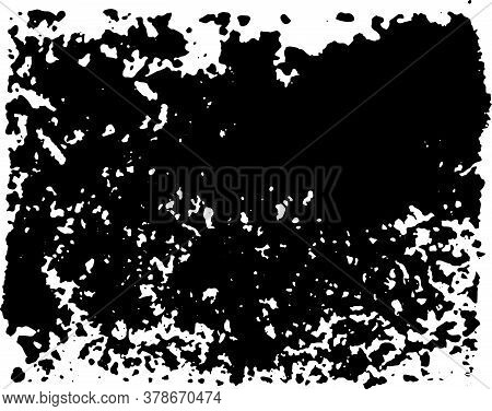 Fragmented Decal Of Black Ink In The Shape Of A Rectangle. Use For Grunge Style.