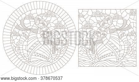 Set Of Contour Illustrations Of Stained Glass Windows With A Pair Of Cats Against A Winter Landscape