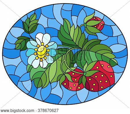 Illustration In Stained Glass Style With Berries And Leaves Of Ripe Strawberries On A Blue Backgroun