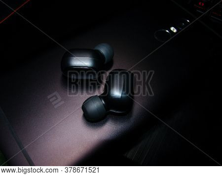 Saint-petersburg, Russia - July, 27, 2020: Photo Of Wireless Earphones Mi True Wireless Earbuds Basi