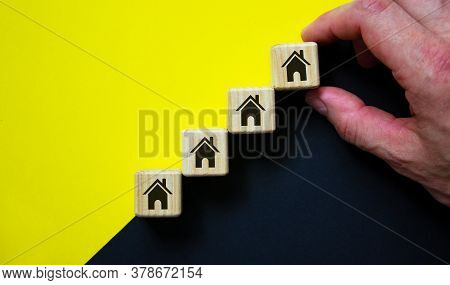Business Concept Growth Success Process. Wood Block Stacking As Step Stair On Paper Yellow And Black