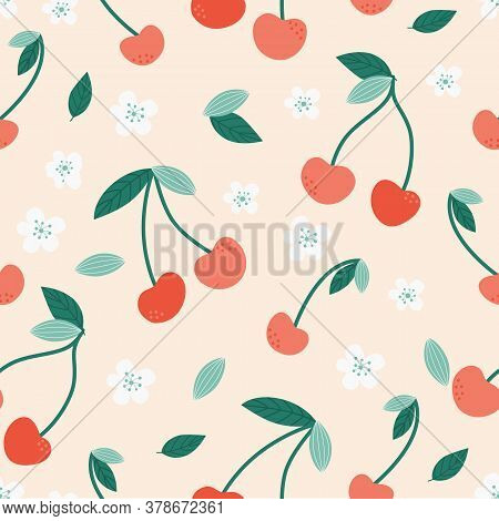 Modern Cherry Seamless Pattern. Cute Red Cherries On A Pink Background. Bright Berries And Flowers.