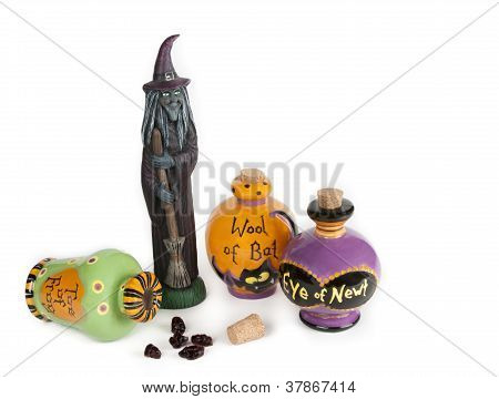 Halloween witch sweeping up spilled potion ingredients