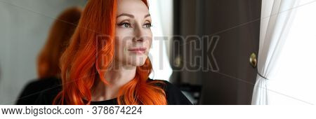 Portrait Of Woman Looking Away With Calmness And Gladness. Lady With Charming Smile. Smiling Make-up