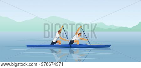 Two Men Canoeing. Recreational Boating Activity Paddle Sport With Athletes Kneel In Canoe With Singl