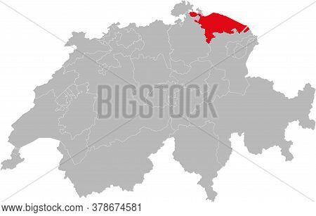 Thurgau Canton Isolated On Switzerland Map. Gray Background. Backgrounds And Wallpapers.